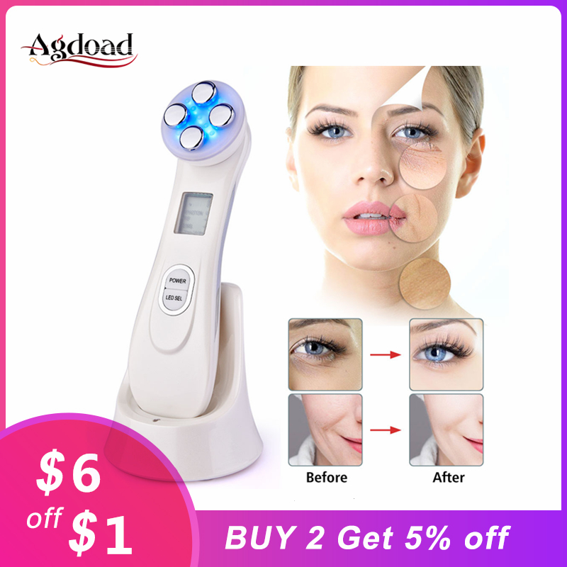 Dropship 5 In 1 LED Skin Tightening Radio Frequency Nourish Beauty Device LED Photon Anti Aging Skin Rejuvenation Skin Care Tool