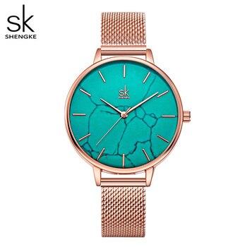 Reloj Shengke De Esfera Esmeralda Para Mujer, Reloj De Banda De Acero Inoxidable Rosegold, Superficie De Mármol, Reloj De Mujer, Nuevo Reloj De Marca Original Para Niña