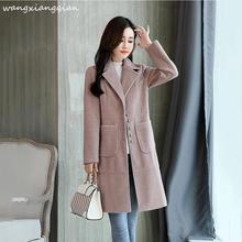 купить Women's woolen coat Medium length 2019 winter new Korean version solid color autumn winter fashion single-breasted long-sleeved slim woolen coat female  A497 по цене 4044.65 рублей