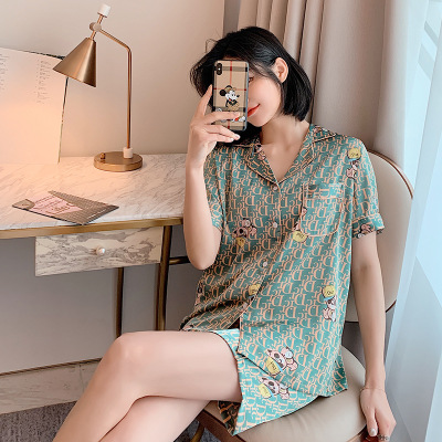 Korean version of the new ladies 2 Pcs Set pajamas & women summer short sleeved ice silk home leisure cool sleepwear 2 piece set|Pajama Sets| - AliExpress