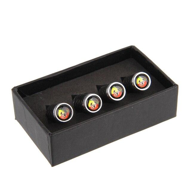 Углеродное волокно, металлические автомобильные шины, клапаны, колпаки, крышки для колес, декор для логотипа Abarth, для 595 fiat 500 695 Punto alfa romeo, авт...