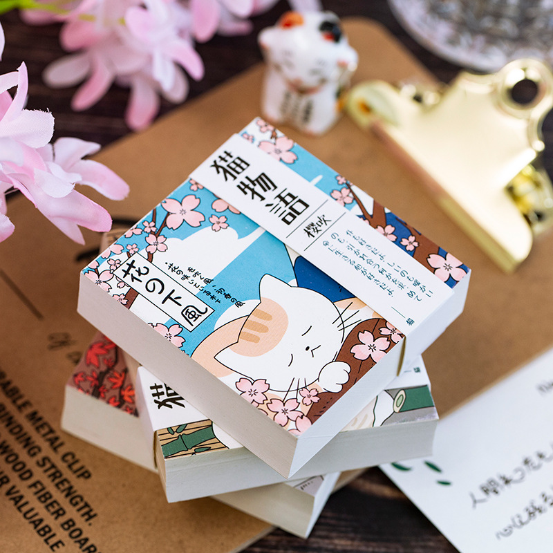 """Japanese Cat Pocket"" Removable Papers Journal Notebook Cute Notepad Study Memo Free Note Stationery Gift"