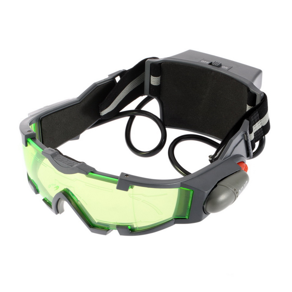 25 Feet Goggles Glasses Adjustable eyeshield Green Lens Elastic Band Night Vision LED Lights Dark Eyewear eyeglasses wholesales image