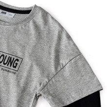 Г., Базовая рубашка в Корейском стиле для мальчиков на весну и осень трикотажная рубашка из чистого хлопка с длинными рукавами и надписью, комплект из двух предметов