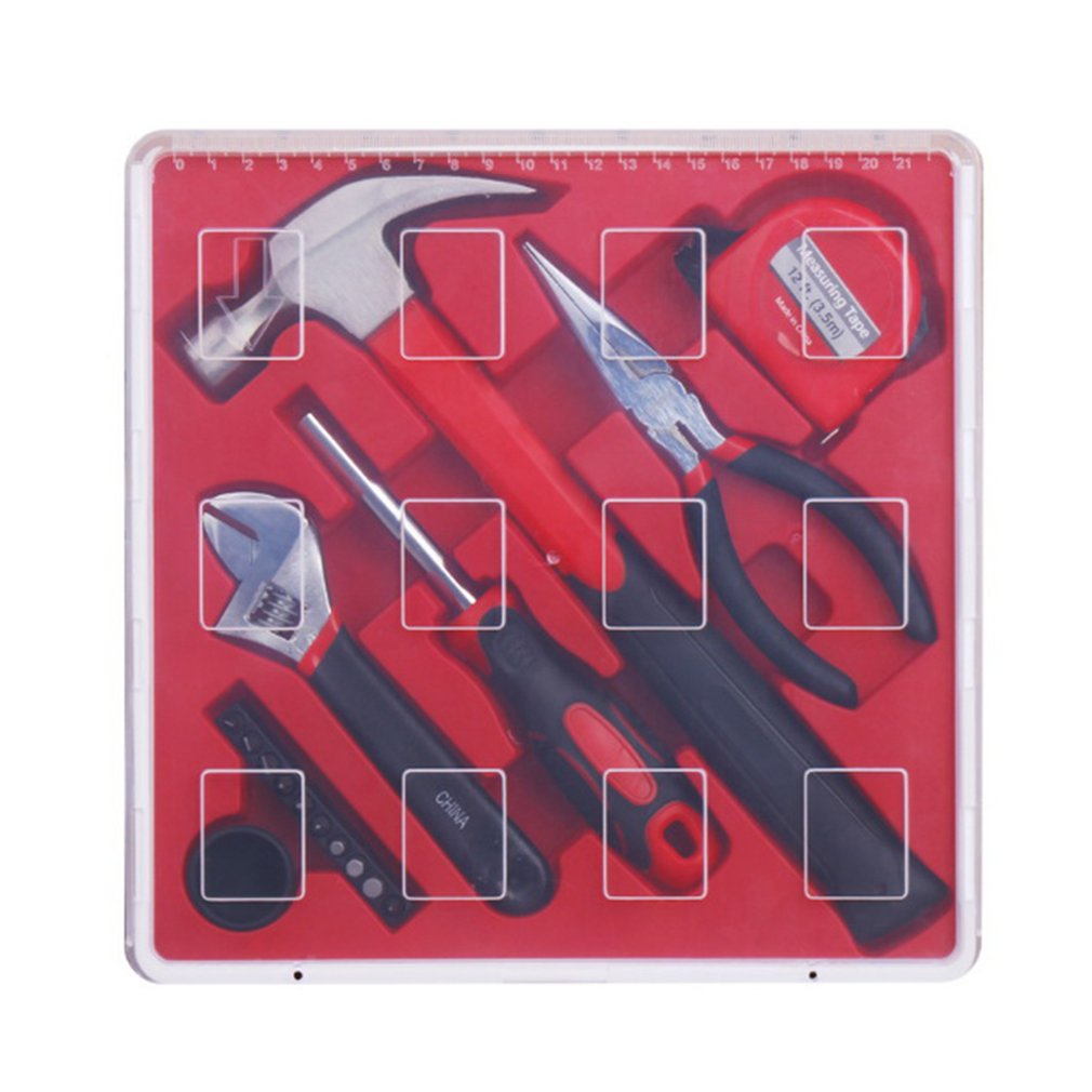 17PCS Household Repair Hand Tool Kit Set with Plastic Storage Case Hammer Pliers Screwdriver Bits Tape measure|Hand Tool Sets| |  - title=