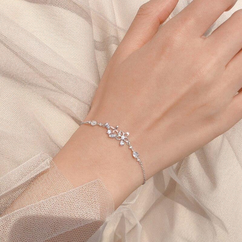 Модная Корейская 925 стерлингового серебра звено цепи с украшением в виде кристаллов цветок браслеты с подвесками и браслет для женщин Сваде...