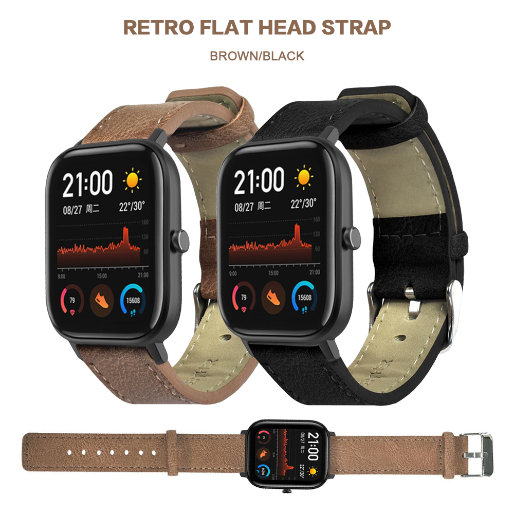 Leather Sporty Strap For Huami Amazfit GTS Black Brown Replacement Watch Band Wristband Strap For Huami Amazfit GTS Accessories