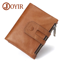 JOYIR New Designer RFID Men Wallet Genuine Crazy Horse Leather Short Purse Card Holder Coin Fashion Man