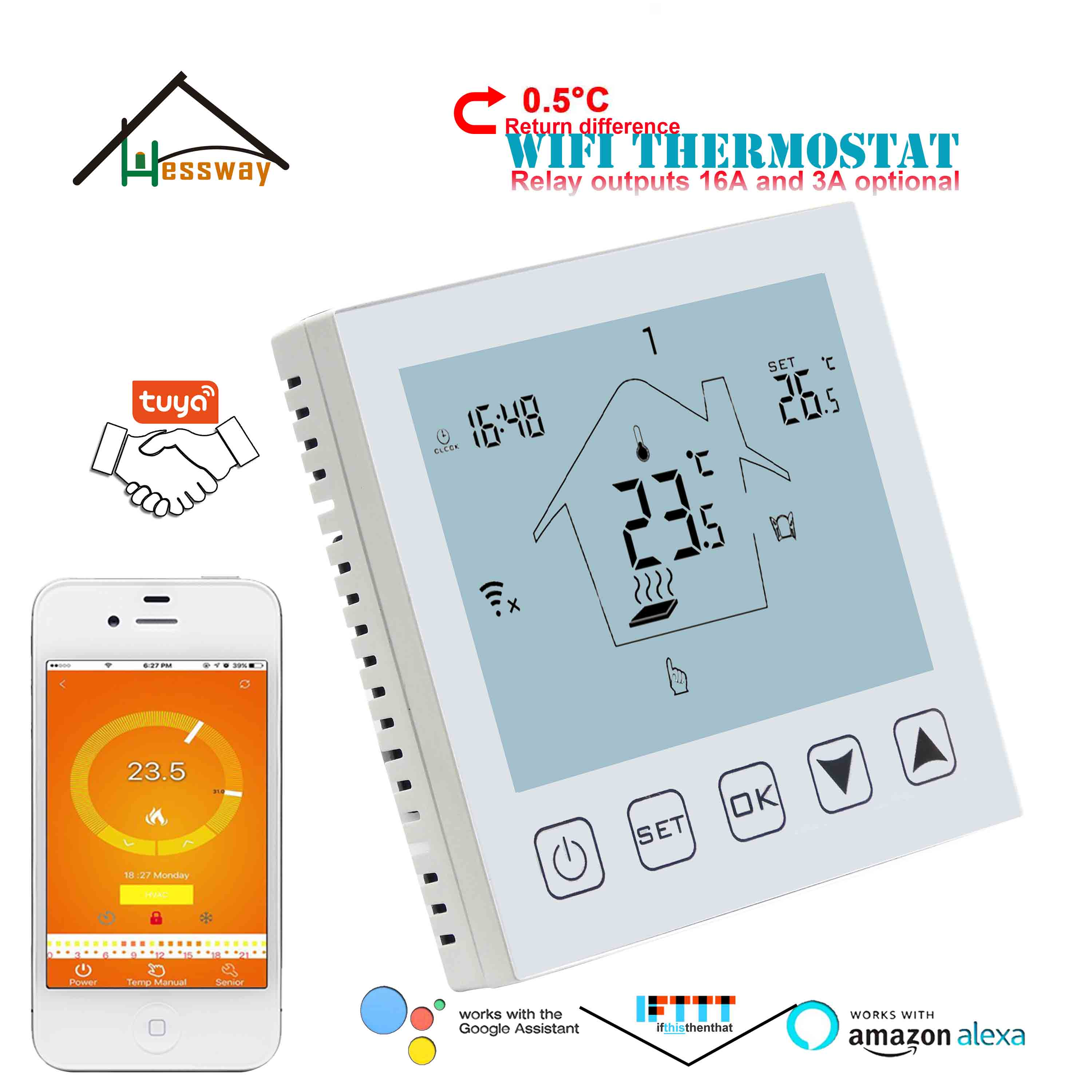 Double Sensor Electric Temperature Controller WIFI Thermostat For Heating Cable/Electric Blanket/heater Plate/INFRARED HEATER