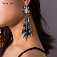 Salircon Geometric Leaf Earrings Irregular Punk Retro Jewelry Fashion Long Pendant Personality Exaggerated Woman Gifts