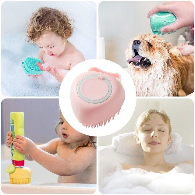 Pet Dog Silicone Bathing Brush Irrigation Liquid dog supplies Pet Massage Brush Bathing Shampoo Brush Cat Massage Comb 2