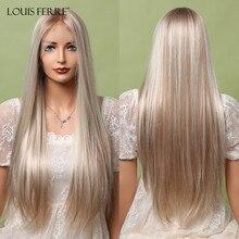 Resaltar rubia platino peluca con malla frontal brasileño largo recto 13*1 T malla con división Peluca de la parte media pelucas de pelo sintético para las mujeres