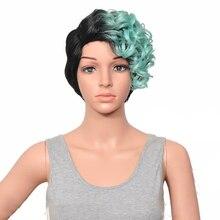 HAIRJOY женский специальный смешанный цвет боковая часть короткий кудрявый синтетический парик для волос