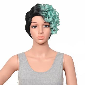 HAIRJOY kobiety specjalne Mix kolorów przedziałek z boku krótkie kręcone włosy syntetyczne peruki tanie i dobre opinie Wysokiej Temperatury Włókna CN (pochodzenie) Elastyczne koronki 130 Średnia wielkość Jasny brąz 1 sztuka tylko