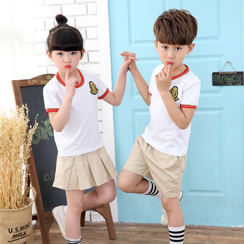 Childrenswear School Uniform 2019 Summer New Products Medium-small Big Kid Sports Set Men And Women Children Kindergarten Suit P