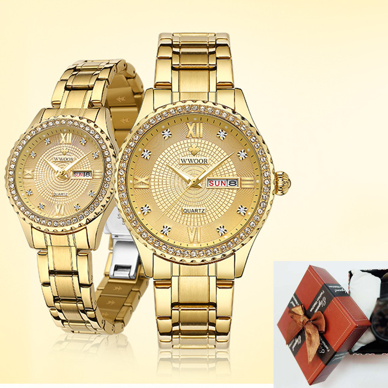 WWOOR Top Brand Couple Watches Quartz Wristwatch With Box Fashion Men Women Watch Stainless Steel Waterproof Calendar Date Clock