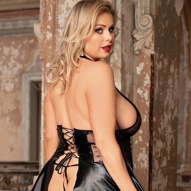 Erotic Latex O Neck Babydoll Garter Bustier Lingerie Black Faux Leather Plus Size #F1621 3