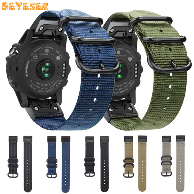 For Garmin Fenix 6S 6 6X Pro 5S 5 5X Plus Easy Fit Woven Nylon Watchband Quick Release 20 22 26mm For Forerunner 945 Wrist Strap
