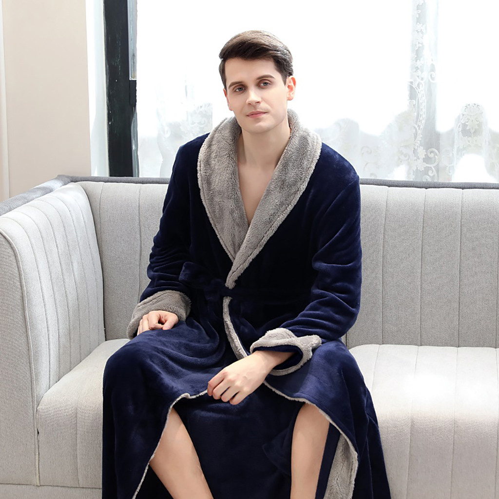 2019 Hot Products Mens Splice Thicken Coral Fleece Robe Bathrobe Gown Pajamas Sleepwear Pocket Dropshipping Man Wo