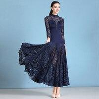 Lace Modern Dance Long Skirt Ballroom Dance Costume Dress Waltz Ballroom Dance Costume