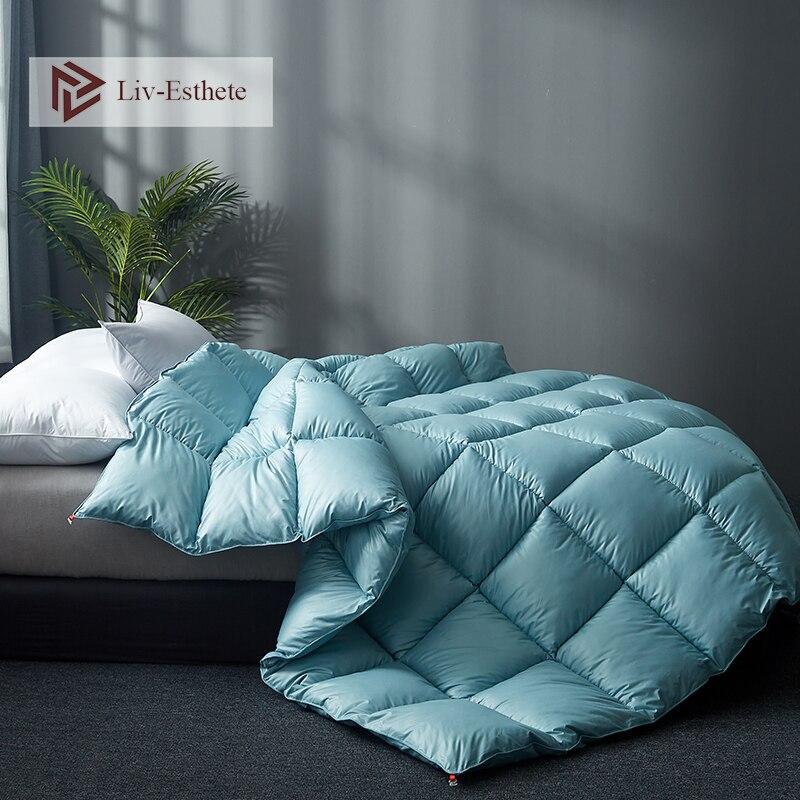 Liv-Esthete High Grade 100% Silk Green Comforters Filled Duvets Bedding Double Queen King Duvet Hand work Quilts