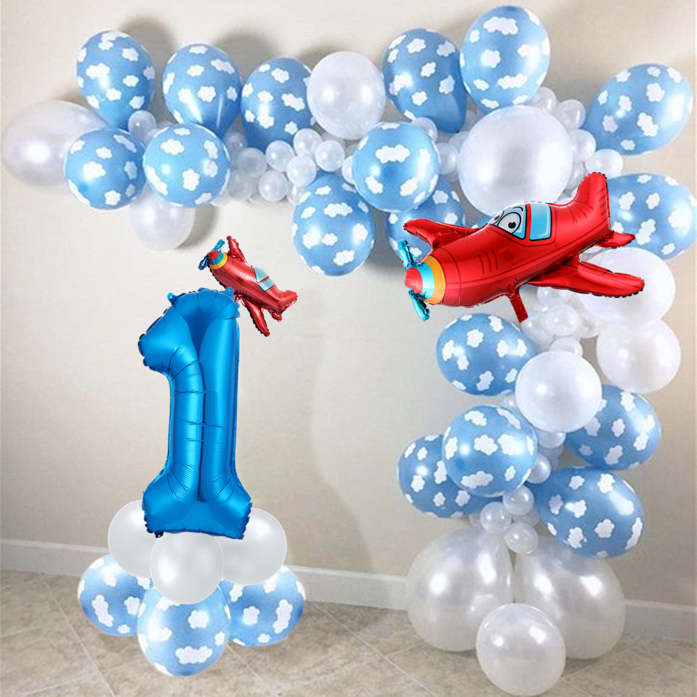 1 set mix Airplane white cloud Ballon Garland Arch Kit set white blue latex air globos baby shower birthday party decor supplies image