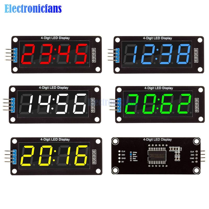 Цифровые часы-трубка с 7-сегментным дисплеем, 0,56 дюйма, 4/6 цифр, модуль с двойными точками, синий, желтый, белый, зеленый, красный светодиодный ...