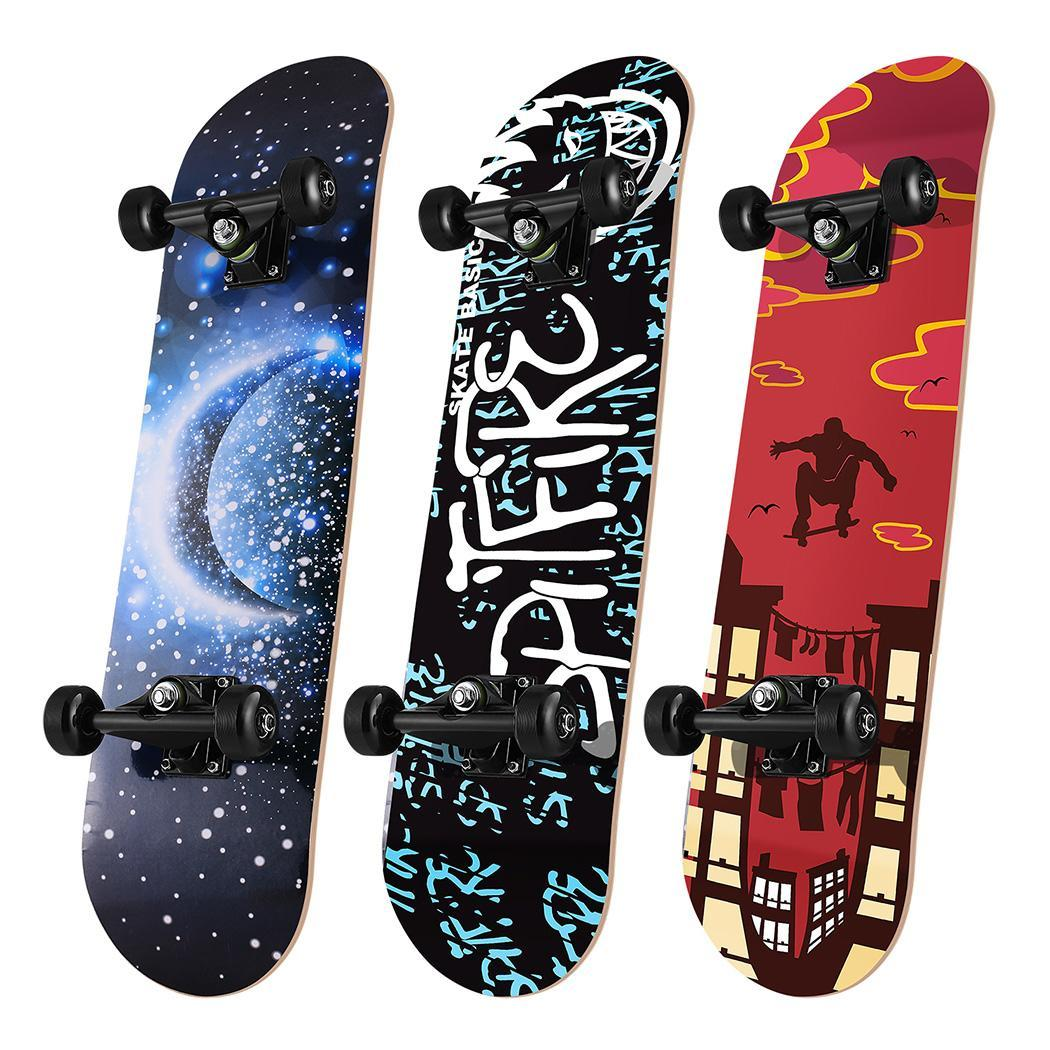 Skateboard Maple 4 Wheels Double Rocker Board Teenager Adult Figure Skating Street 3 Colors Double Up Board Red Colors Frosted 12