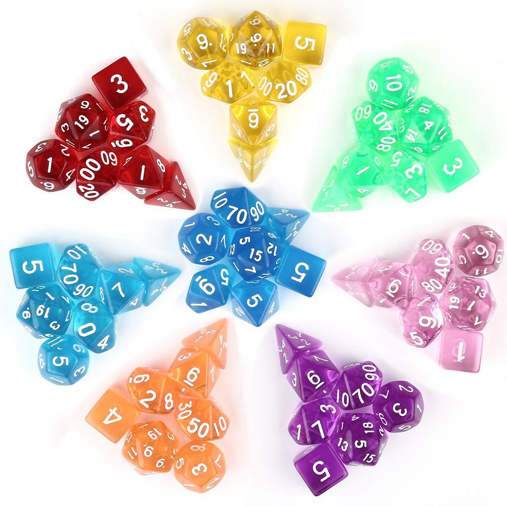 Kuulee 7Pcs/Set Translucent Polyhedral Dice Set For Dungeons Dragons Pathfinder D&D RPG (D4 D6 D8 D10 D12 D20 D%)