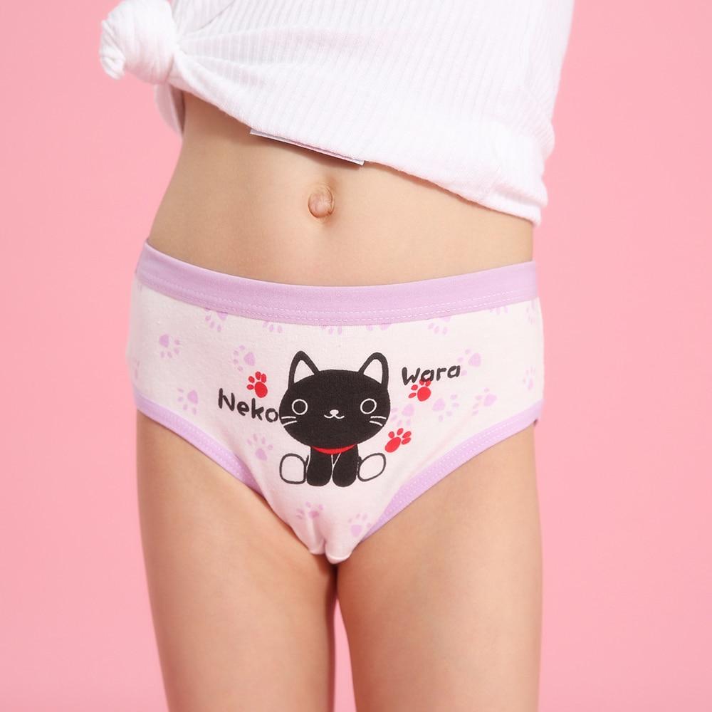 4 Pcs/ Lot Children Underwear Cotton Girls Panties Briefs New Clothing Cute Cat Cartoon Printed Baby Girl Underpants Kids Briefs