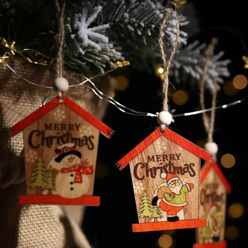 Kreatif Kayu Liontin Ornamen DIY Kerajinan Kayu Pohon Natal Ornamen untuk Pesta Natal Dekorasi Anak Hadiah
