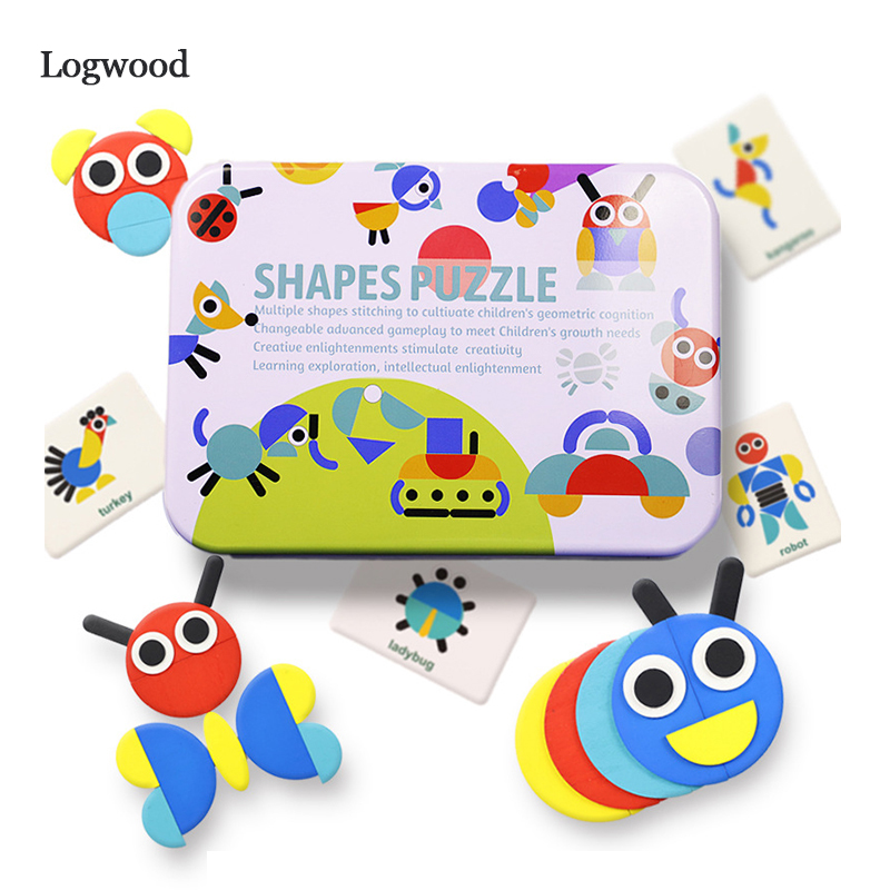 Wooden Pattern Animals Jigsaw Puzzle Sorting And Stacking Games Montessori Educational Toys For Toddlers
