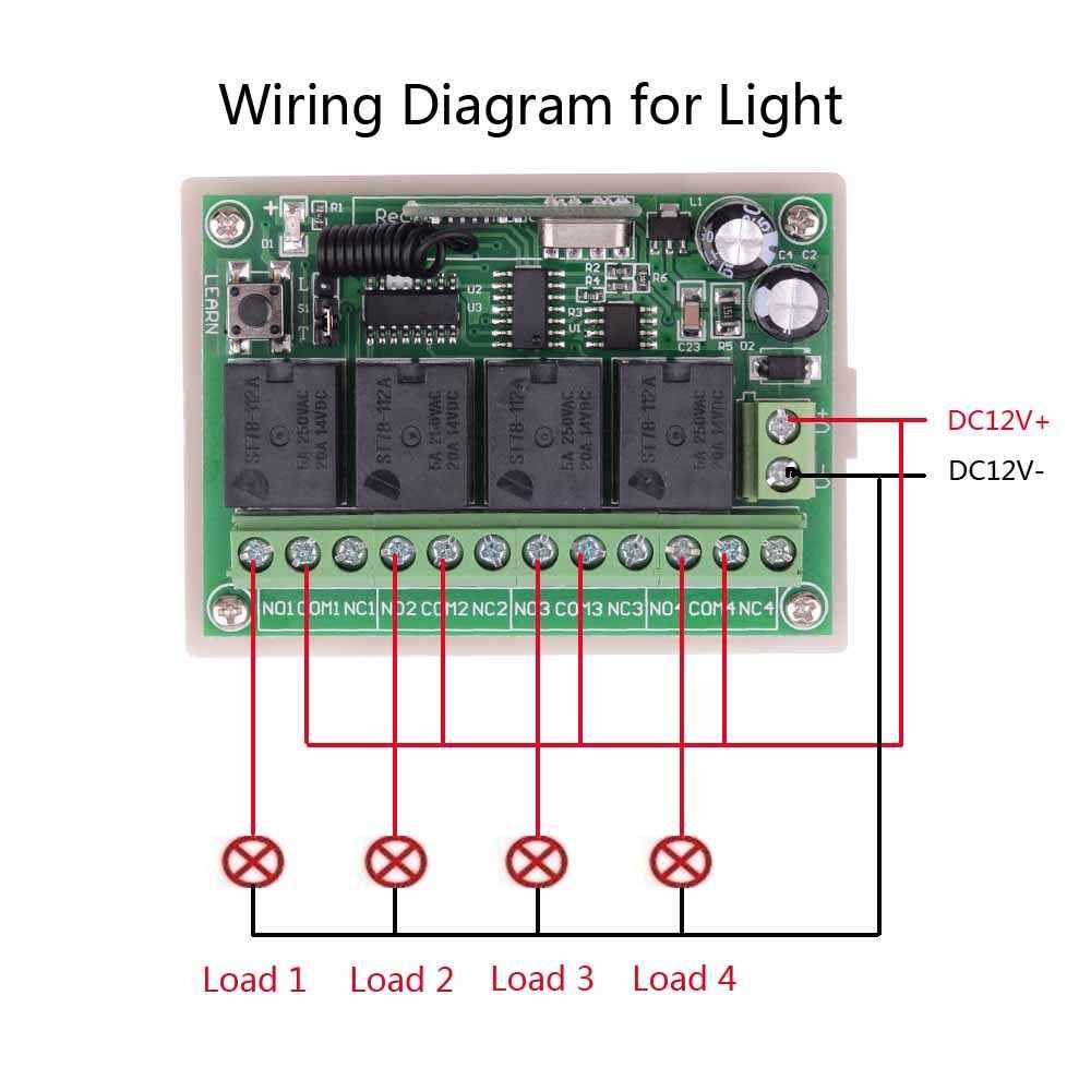 DC 12V 5V 433 Mhz العالمي اللاسلكية التحكم عن بعد التبديل 4CH تتابع وحدة الاستقبال مع 4 قناة RF عن بعد 433 Mhz الارسال