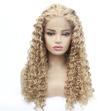 Cosplay Wig Afro Kinky Curly Natural Looking Blonde #27 Color Synthetic Lace Wig Heat Resistant Lace Front Curly Synthetic Wigs fluffy curly heat resistant synthetic long lace front wig
