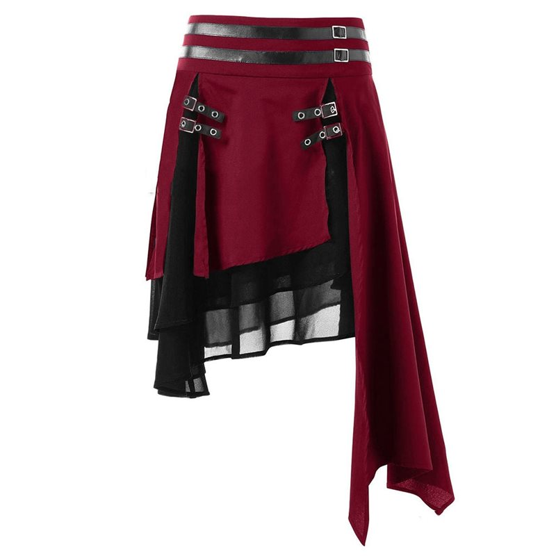 Dark Goth Harajuku Asymmetrical Black Skirt Women Patchwork Hip Hop Mini Hipster Motorcycle Punk Rock Red Streetwear 3XL