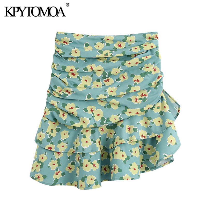 KPYTOMOA Women 2020 Chic Fashion Floral Print Ruffled Mini Skirt Vintage High Waist Back Zipper Female Skirts Faldas Mujer