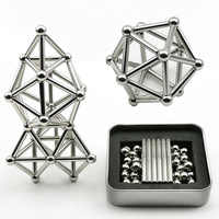 63Pcs Innovative Metal Magnet Ball Stick Building Block Construction jigsaw Stacking Game Toy Children Educational Puzzle Toys