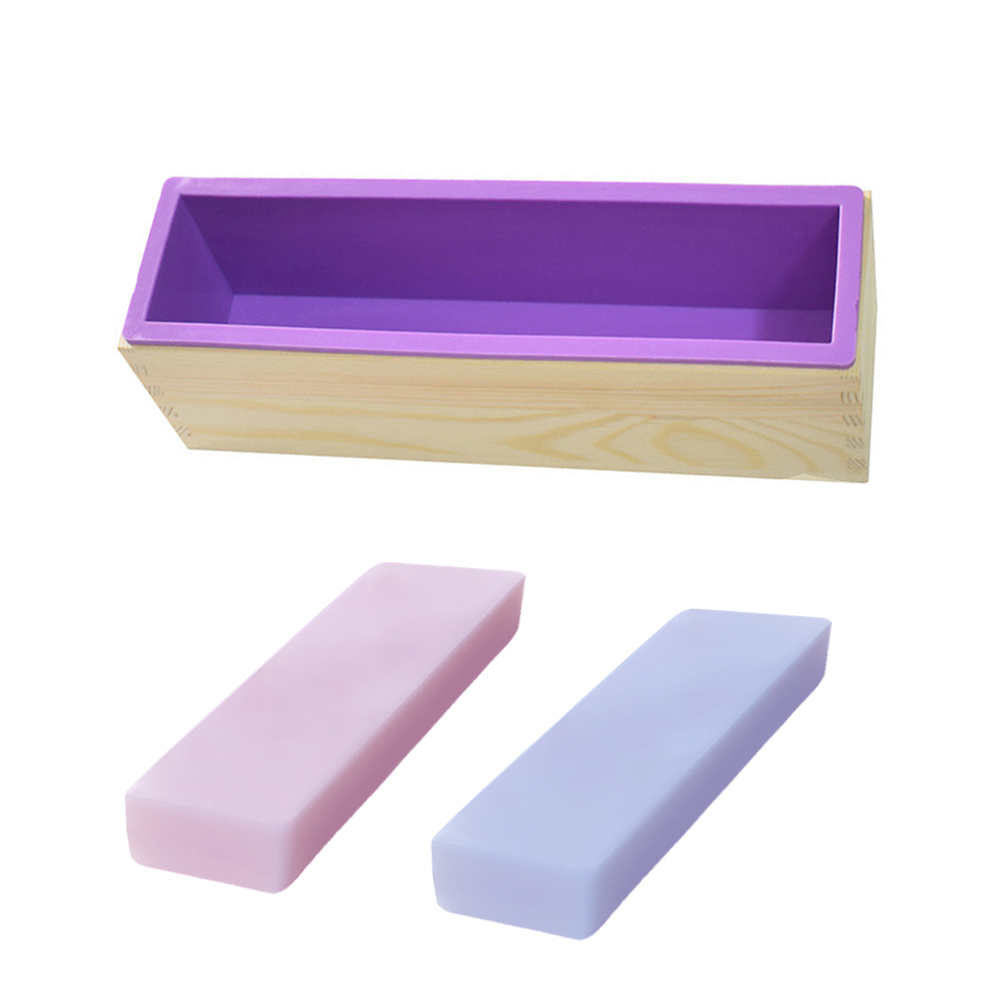 900g 1200g Rectangle Silicone Soap Loaf Mold Wooden Box DIY Making Tools