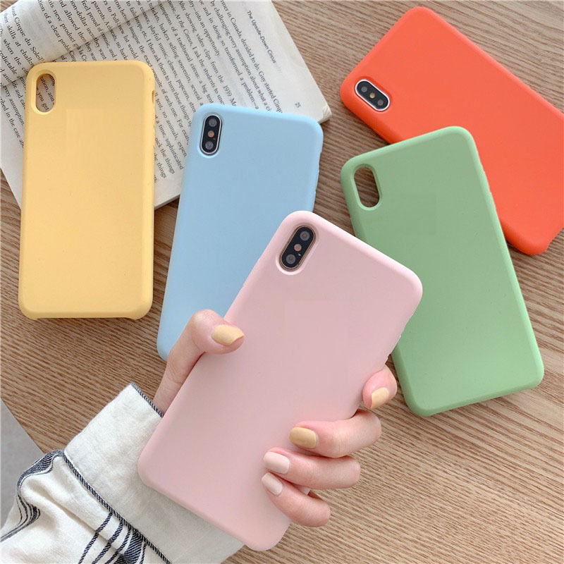 <font><b>Original</b></font> silicone solid color Phone <font><b>case</b></font> For <font><b>iPhone</b></font> 11Pro Max XR <font><b>X</b></font> <font><b>XS</b></font> Max 6 6S 7 8 Plus cute candy color couple soft phone <font><b>case</b></font> image