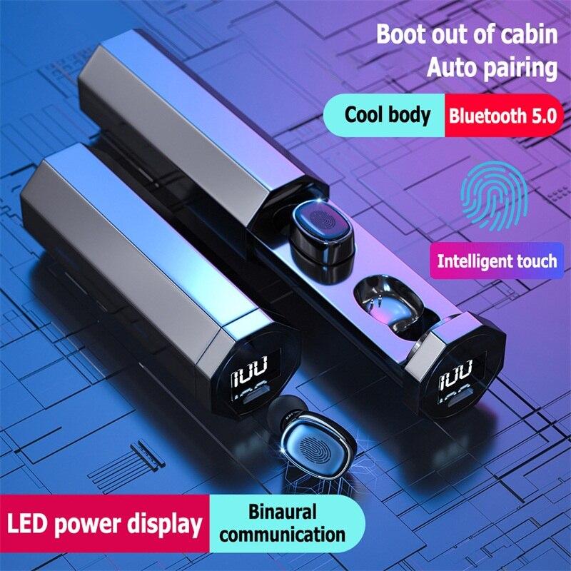 2020 TWS беспроводные Bluetooth V5.0 наушники HiFi стерео Авто парные наушники Спортивная гарнитура LED Сенсорное управление для всех смартфонов