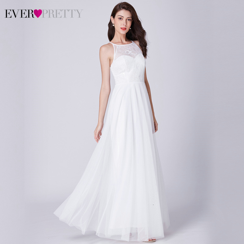 Elegant Wedding Dresses Ever Pretty Floral Lace A-Line O-Neck Sleeveless Tulle Simple White Wedding Gown For Bride Vestido Novia