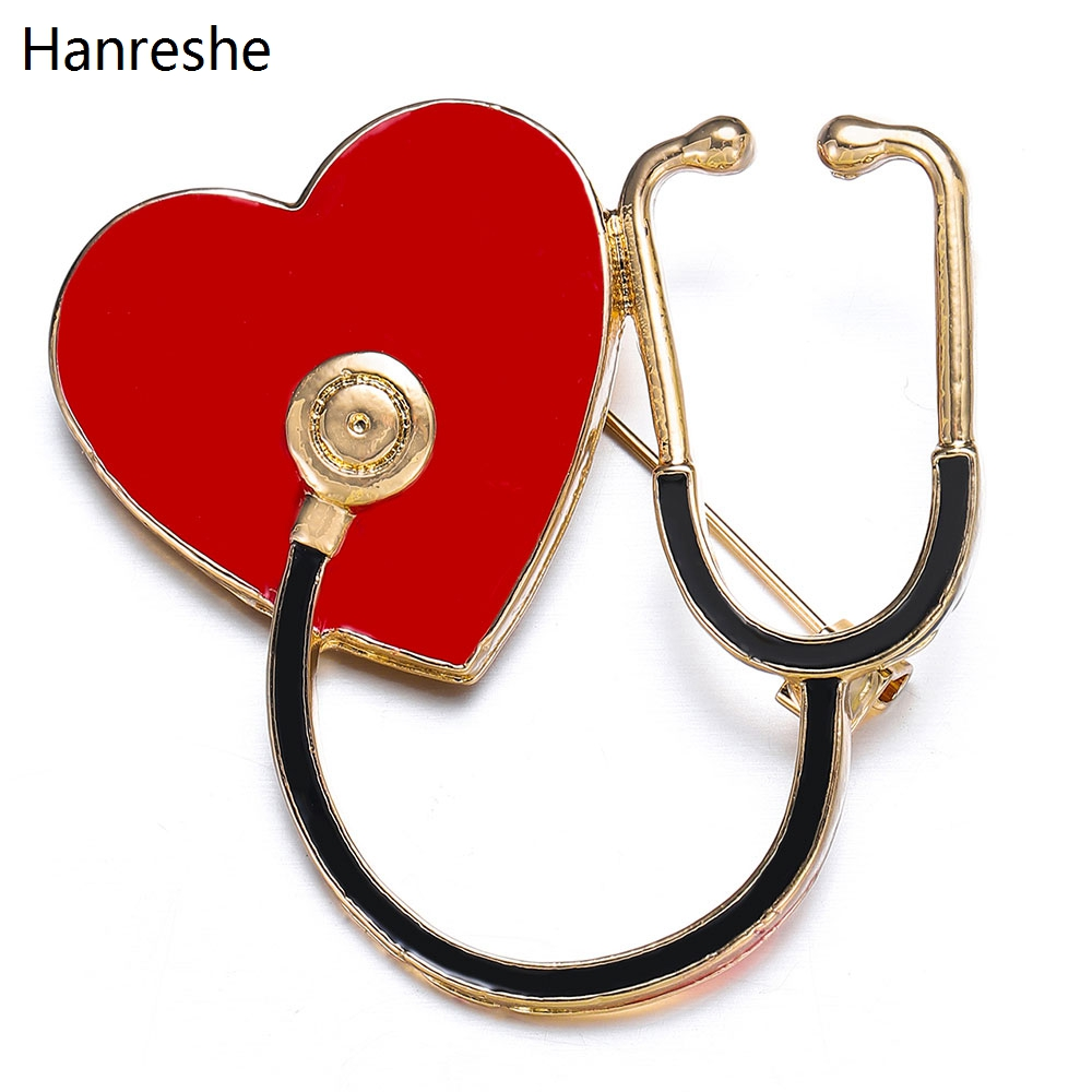 2 Style Heart-shaped Stethoscope Brooch Love Heart Enamel Pin For Hospital Doctors And Nurses Medical Jewelry Lapel Pins Badge
