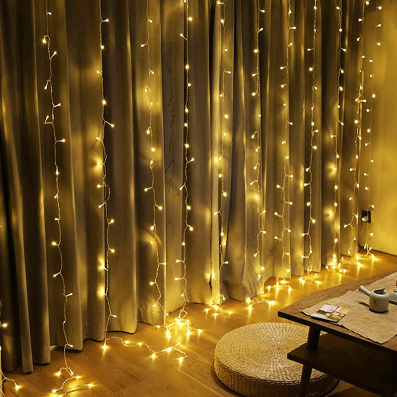 Image 2 - EU US Plug 3m*3m 300 LED String Fairy Curtain Light Garland Christmas Festival Lights Wedding Party New Year Decorative Lights-in LED String from Lights & Lighting on