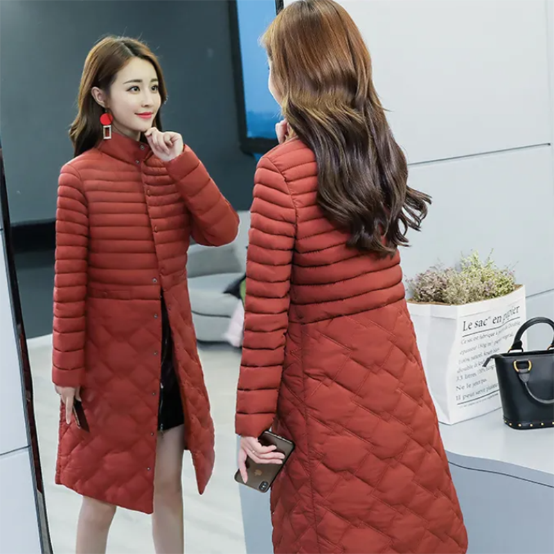 2021 new winter coat, lightweight cotton-padded jacket, women's mid-length slim and thin middle-aged down padded jacket