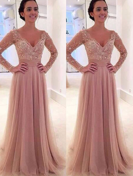 Evening Dress A-Line Deep V-Neck Sweep Train Long Sleeves Blush Tulle with Appliques Formal Prom Dress Party Gown