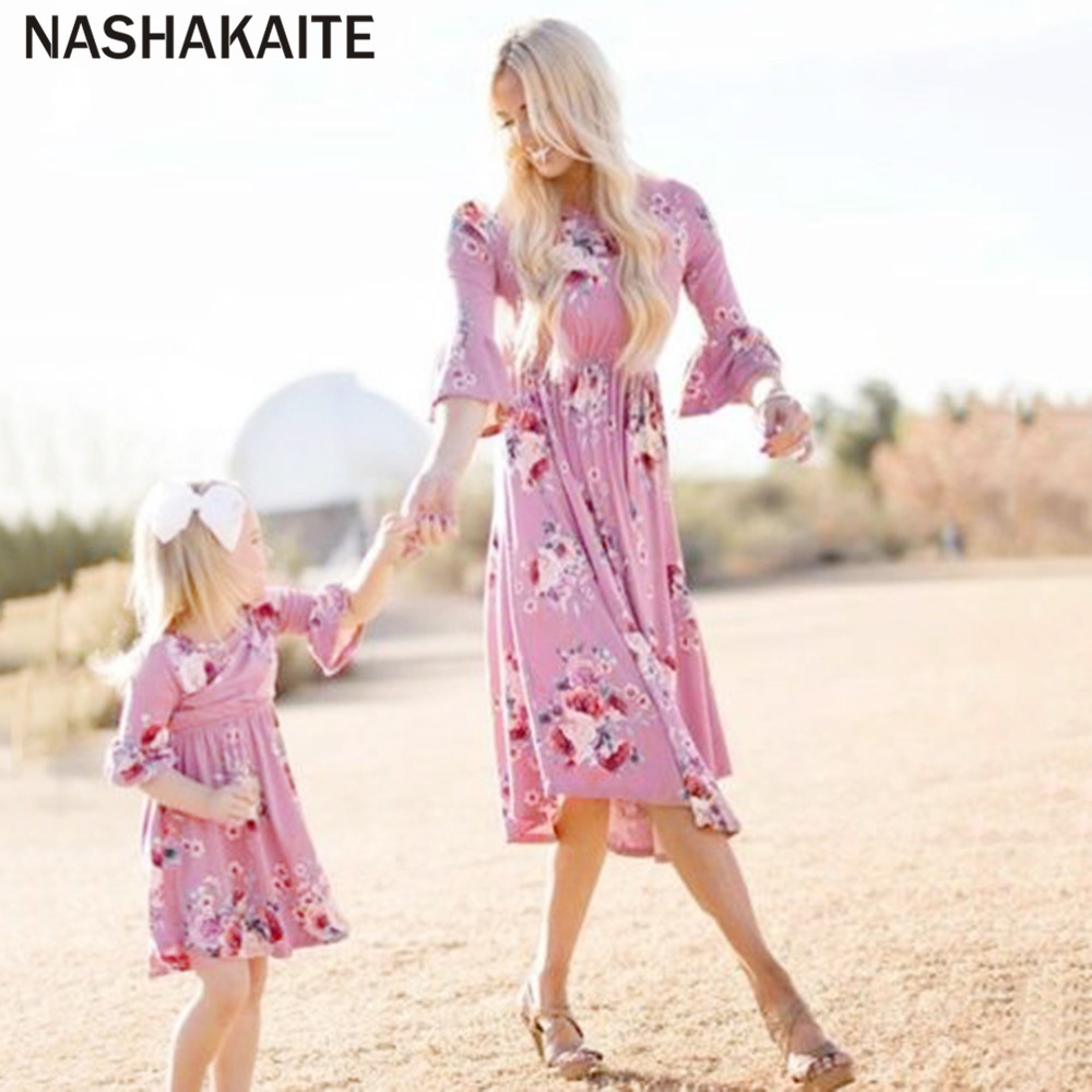 Daughter NASHAKAITE Mommy Dresses And Me Autumn Spring Floral Flare-Sleeve