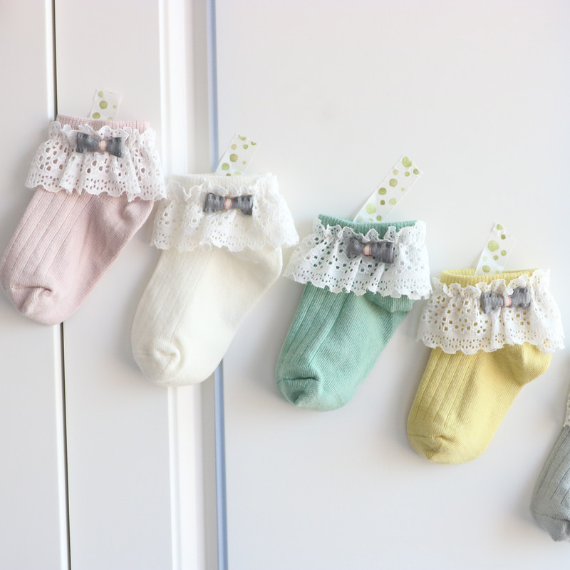 Baby Girls Cotton Socks Princess Ruffled Lace Bowknot Sock Infant Soft Short Socks Kids Pure Color Spring Autumn 1-5Years
