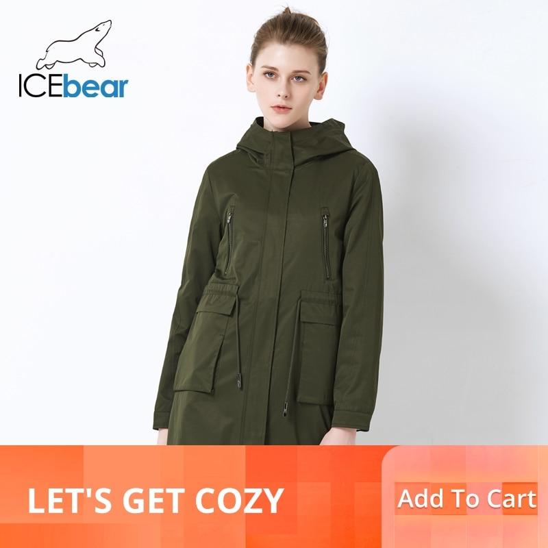 Icebear 2019 고품질 느슨한 여성 트렌치 코트 대형 포켓 디자인 여성 패션 코트 후드 캐주얼 코트 gwf18007i-에서트렌치부터 여성 의류 의  그룹 1