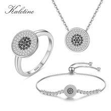 KALETINE Glücklich Türkei Evil Eye Schwarz Perlen Schmuck Sets für Frauen Beste Geschenke 925 Sterling Silber Armband/Halskette/ring 2018