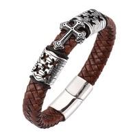 Hombres Vintage pulsera Punk marrón trenzado pulsera de cuero con Cruz hombre joyería de acero inoxidable Cierre magnético pulsera regalo SP0081